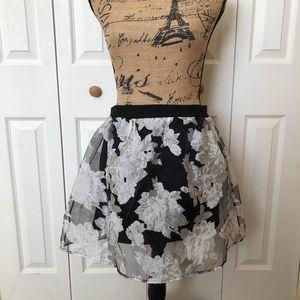 TOBI sheer floral mini-skirt with cute back zipper